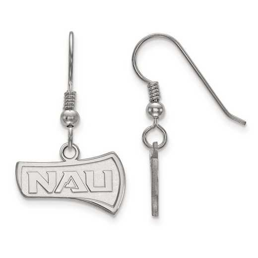SS003NAU: SS Rh-pl LogoArt Northern Arizona Univ Small Dangle Earrings