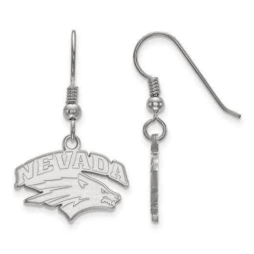 SS003UNR: SS Rh-pl LogoArt Univ of Nevada Small Dangle Earrings