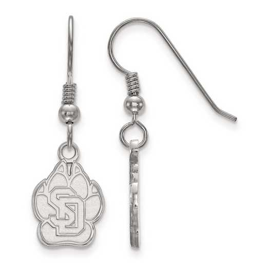 SS003USD: SS Rh-pl LogoArt Univ of South Dakota Small Dangle Earrings