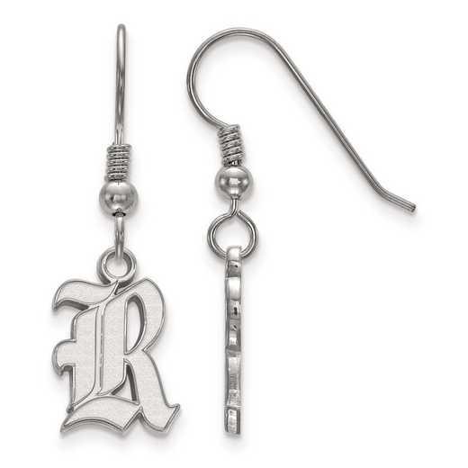 SS003WMR: SS Rh-pl LogoArt Rice University Small Dangle Earrings