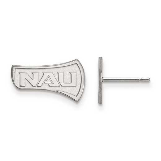 SS004NAU: SS Rh-pl LogoArt Northern Arizona Univ Small Post Earrings