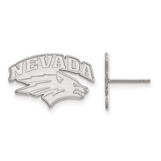SS004UNR: SS Rh-pl LogoArt University of Nevada Small Post Earrings