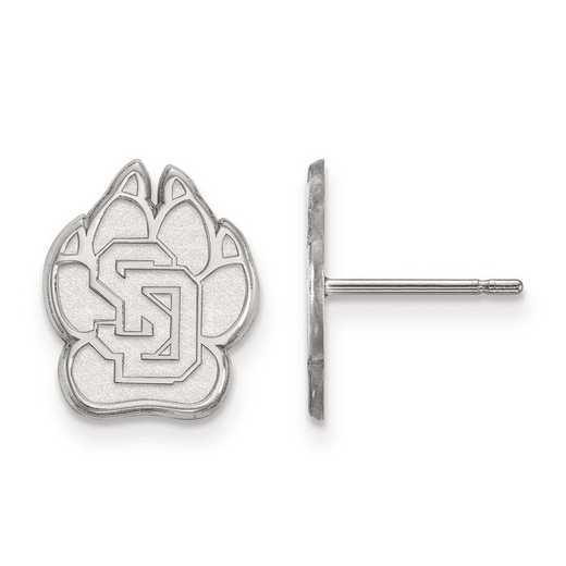 SS004USD: SS Rh-pl LogoArt Univ of South Dakota Small Post Earrings