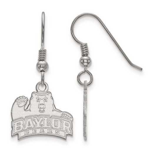 SS006BU: SS Rh-pl LogoArt Baylor University Small Dangle Earrings