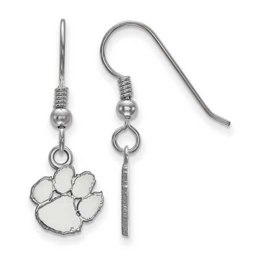 SS006CU: SS LogoArt Clemson XS Dangle Earrings - White