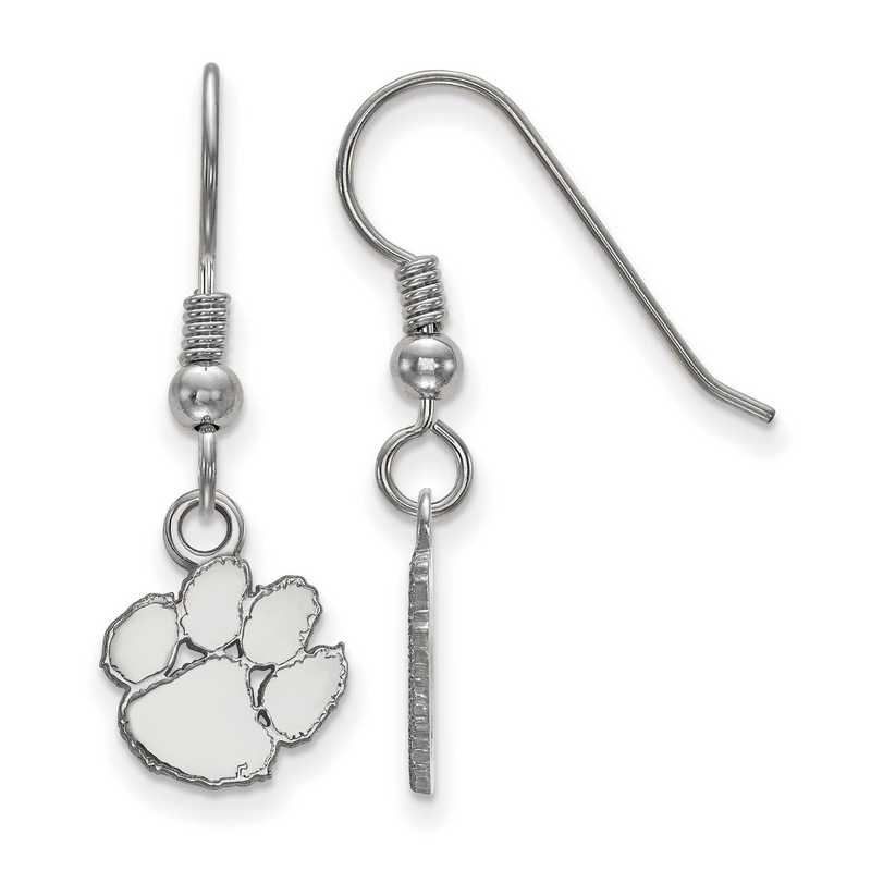 SS006CU: SS LogoArt Clemson XS Dangle Earrings - White