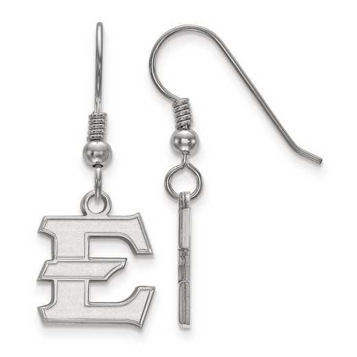 SS006ETS: SS Rh-pl East Tennessee State Univ Small Dangle Earring Wire