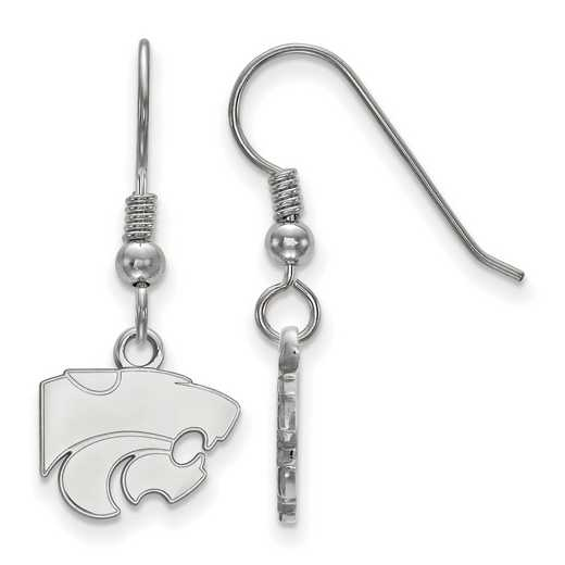 SS006KSU: SS LogoArt Kansas St XS Dangle Earrings - White