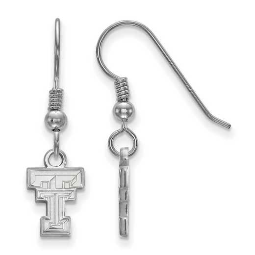 SS006TXT: SS LogoArt Texas Tech XS Dangle Earrings - White