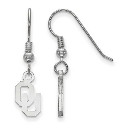 SS006UOK: SS LogoArt Oklahoma XS Dangle Earrings - White