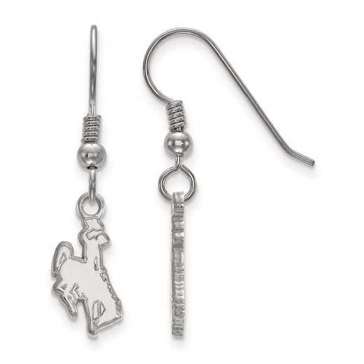 SS006UWY: SS Rh-pl LogoArt The Univ of Wyoming Small Dangle Earrings
