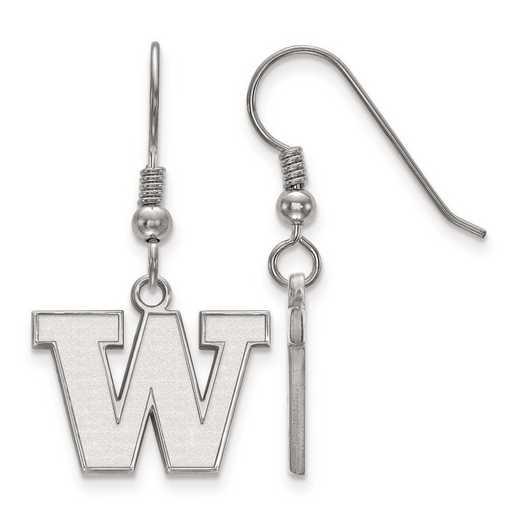 SS007UWA: SS Rh-pl LogoArt Univ of Washington Small Dangle Earrings