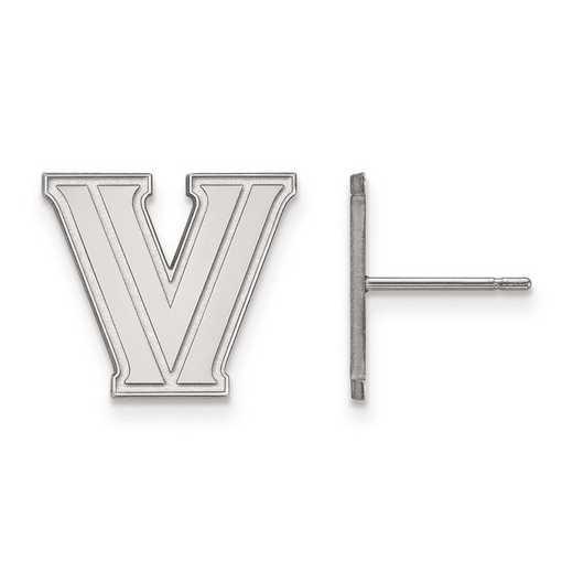 SS007VIL: SS Rh-pl LogoArt Villanova University Small Post Earrings