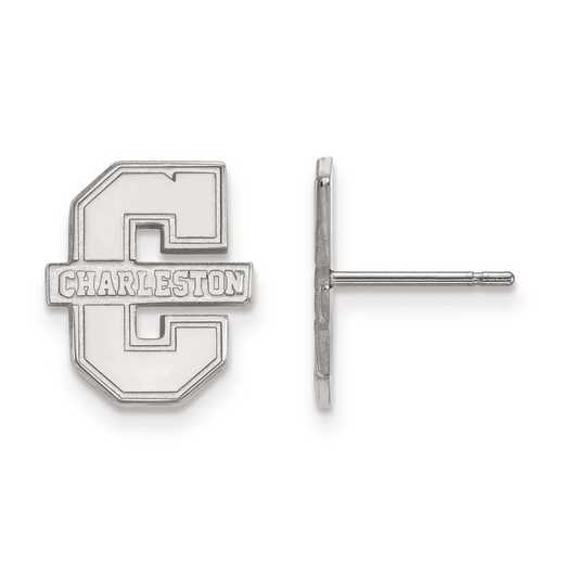 SS008CHC: SS Rh-pl LogoArt College of Charleston Small Post Earrings