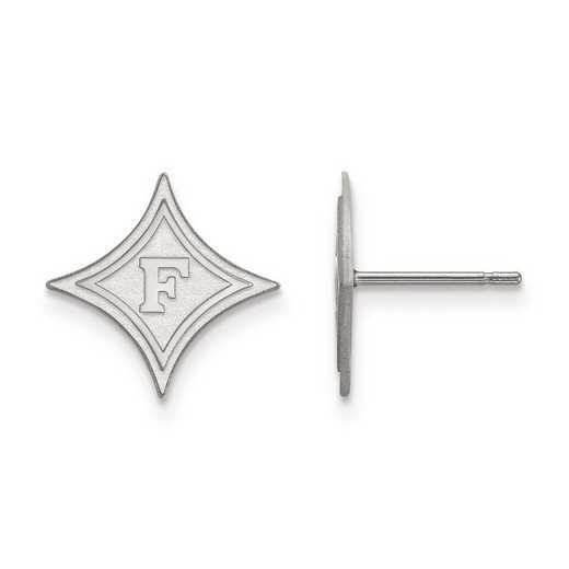 SS008FUU: SS Rh-pl LogoArt Furman University Small Post Earrings