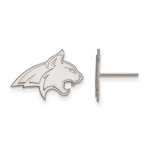 SS008MTU: SS Rh-pl LogoArt Montana State Univ Small Post Earrings