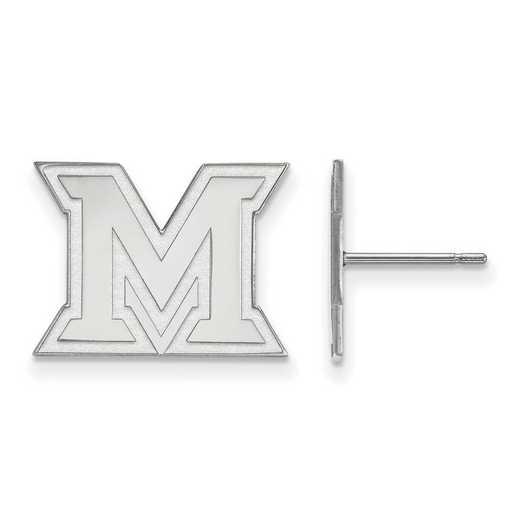 SS008MU: SS Rh-pl LogoArt Miami University Small Post Earrings