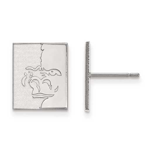 SS008PSK: SS Rh-pl LogoArt Pittsburg State Univ Small Post Earrings
