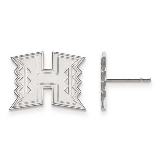 SS008UHI: SS Rh-pl LogoArt The Univ of Hawaii Small Post Earrings