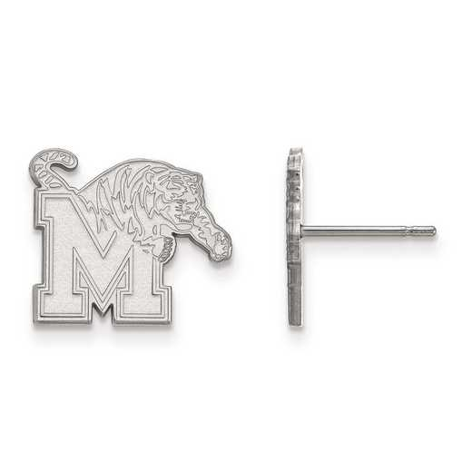 SS008UMP: SS Rh-pl LogoArt University of Memphis Small Post Earrings