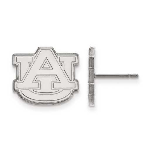 SS009AU: SS Rh-pl LogoArt Auburn University Small Post Earrings