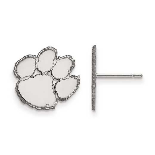 SS009CU: SS Rh-pl LogoArt Clemson University Small Post Earrings