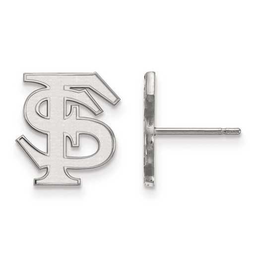 SS009FSU: SS Rh-pl LogoArt Florida State Univ Small Post Earrings