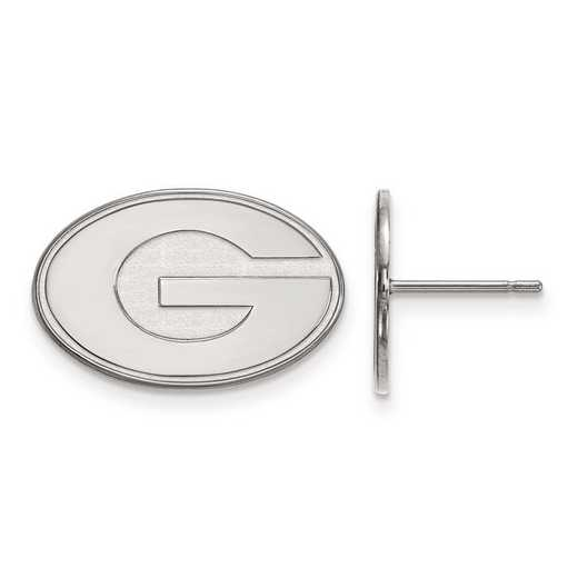 SS009UGA: SS Rh-pl LogoArt University of Georgia Small Post Earrings