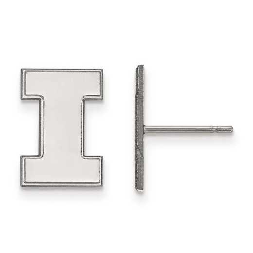 SS009UIL: SS Rh-pl LogoArt Univ of Illinois Small Post Earrings