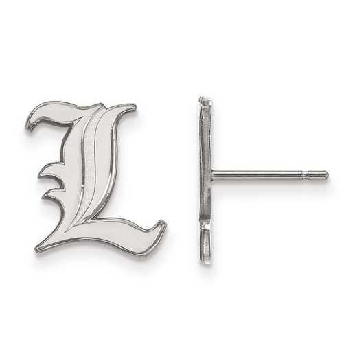 SS009UL: SS Rh-pl LogoArt Univ of Louisville Small Post Earrings