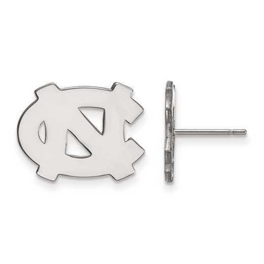 SS009UNC: SS Rh-pl LogoArt Univ of North Carolina Small Post Earrings