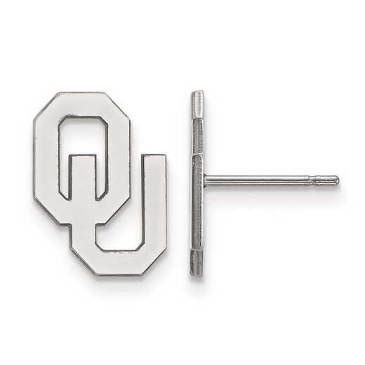 SS009UOK: SS Rh-pl LogoArt Univ of Oklahoma Small Post Earrings