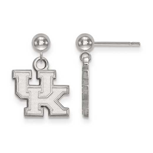 SS010UK: SS Rh-pl LogoArt Univ of Kentucky Earr Dangle Ball