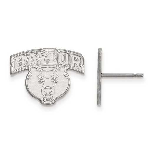 SS029BU: SS Rh-pl LogoArt Baylor University Small Post Earrings