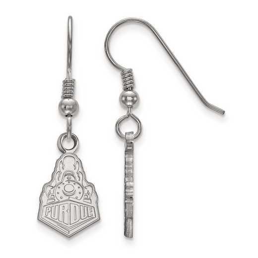 SS042PU: SS Rh-pl LogoArt Purdue Small Dangle Earrings