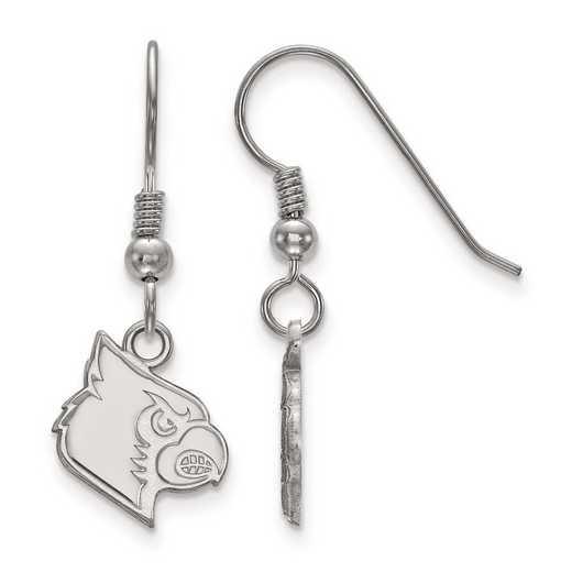 SS044UL: SS Rh-pl LogoArt Univ of Louisville Small Dangle Earrings