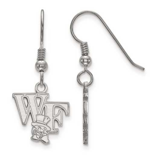 SS046WFU: SS Rh-pl LogoArt Wake Forest Univ Small Dangle Earrings