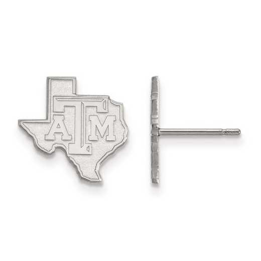 SS047TAM: SS Rh-pl LogoArt Texas A&M University Small Post Earrings