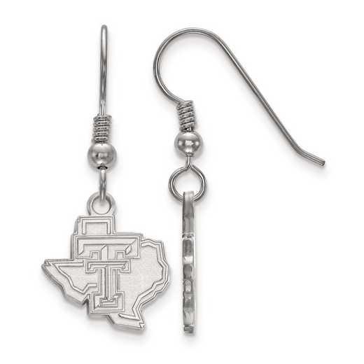 SS048TXT: SS Rh-pl LogoArt Texas Tech Univ Small Dangle Earr