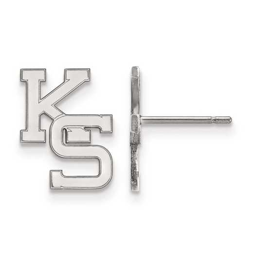 SS051KSU: SS Rh-pl LogoArt Kansas State Univ Small Post Earr