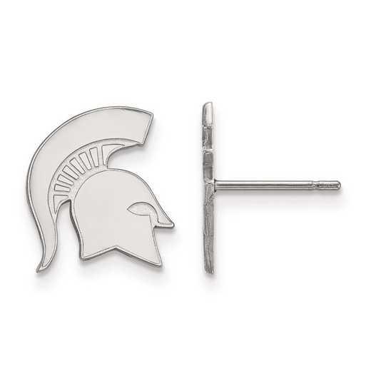 SS051MIS: SS Rh-pl LogoArt Michigan State Univ Small Post Earrings