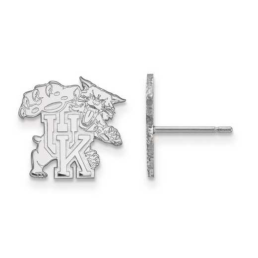 SS051UK: SS Rh-pl LogoArt Univ of Kentucky Small Post Earrings