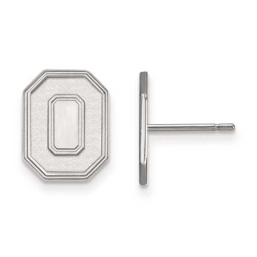 SS052OSU: SS Rh-pl LogoArt Ohio State University Small Post Earrings