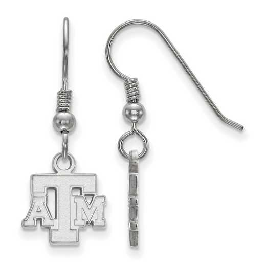 SS058TAM: SS LogoArt Texas A&M XS Dangle Earrings - White
