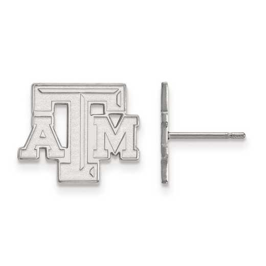 SS070TAM: SS Rh-pl LogoArt Texas A&M University Small Post Earrings