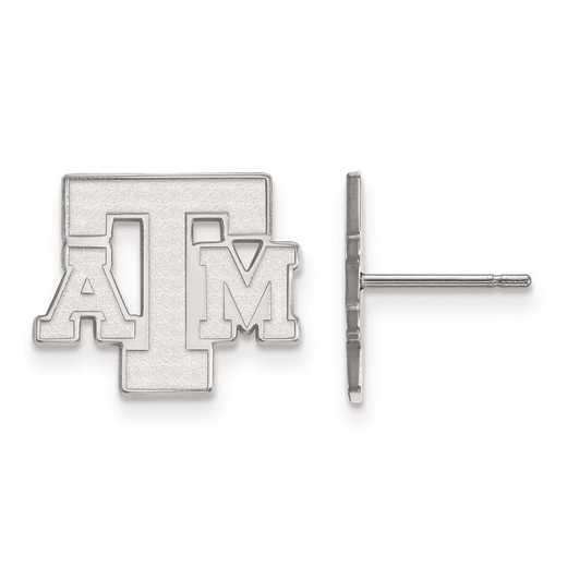 SS075TAM: SS Rh-pl LogoArt Texas A&M University Small Post Earrings