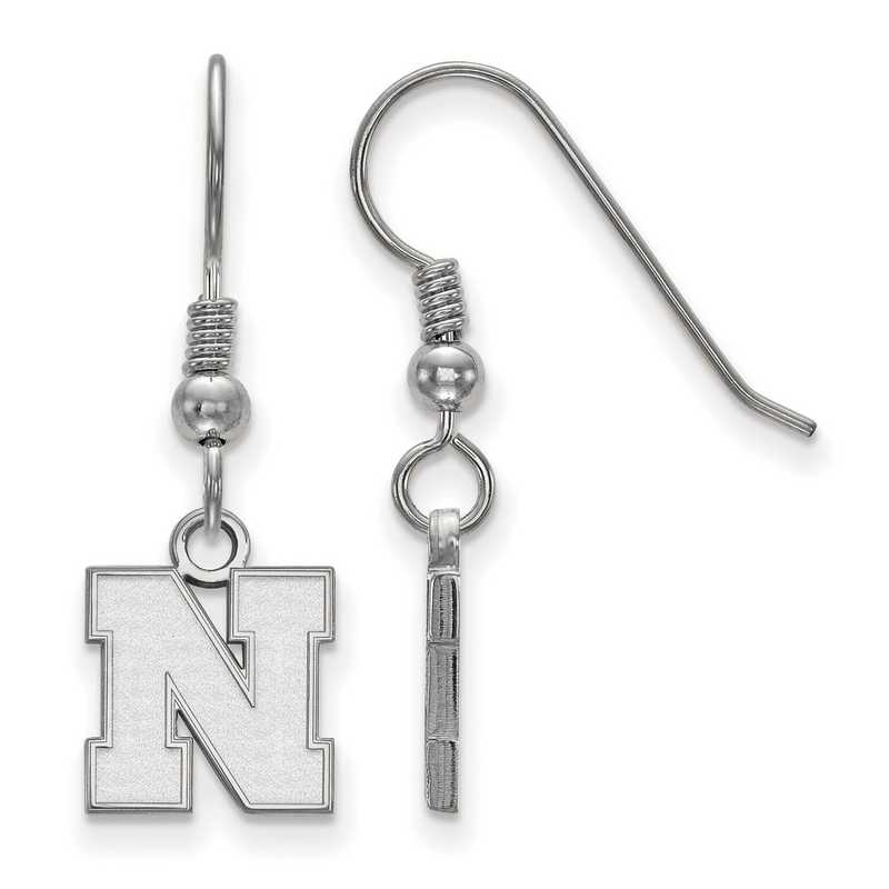 SS082UNE: SS LogoArt Nebraska XS Dangle Earrings - White