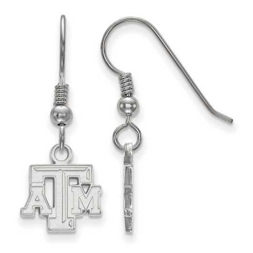 SS006TAM: SS LogoArt Texas A&M Univ XS Dangle Earrings
