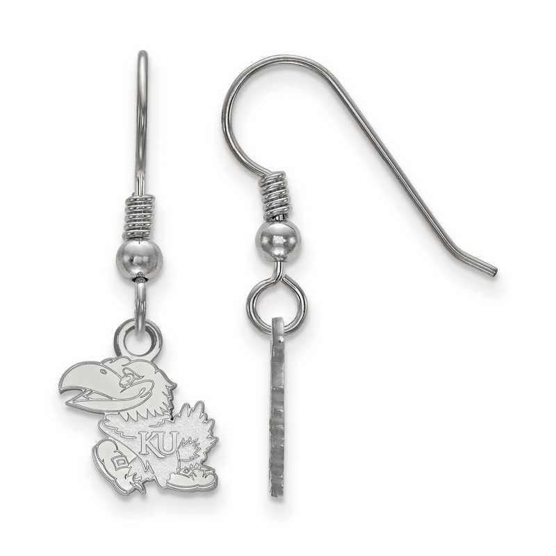SS006UKS: SS LogoArt Univ of Kansas XS Dangle Earrings