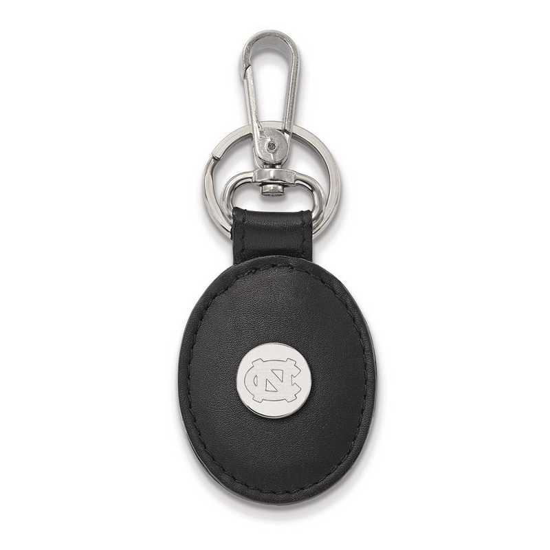 SS012UNC-K1: SS LogoArt U of North Carolina Black Leather Oval Key Chain